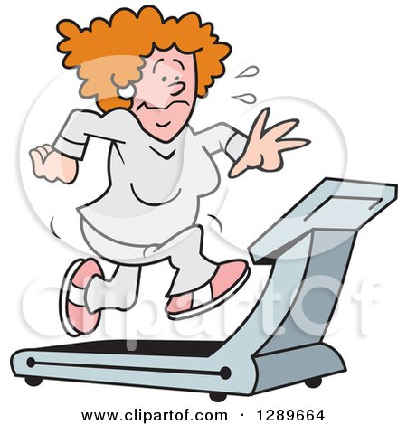 Clipart of a Red Haired Caucasian Woman Sweating and Running on a Treadmill - Royalty Free Vector Illustration by Johnny Sajem