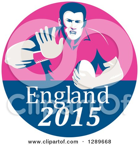Clipart of a Retro Fending Rugby Union Player with Ball in a Pink and Blue England 2015 Circle - Royalty Free Vector Illustration by patrimonio