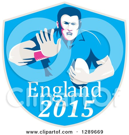 Clipart of a Retro Fending Rugby Union Player with Ball in a Blue England 2015 Shield - Royalty Free Vector Illustration by patrimonio