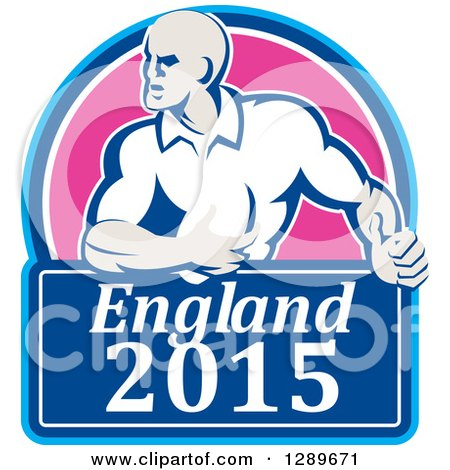 Clipart of a Retro Rugby Union Player with Ball in a Pink and Blue England 2015 Shield - Royalty Free Vector Illustration by patrimonio