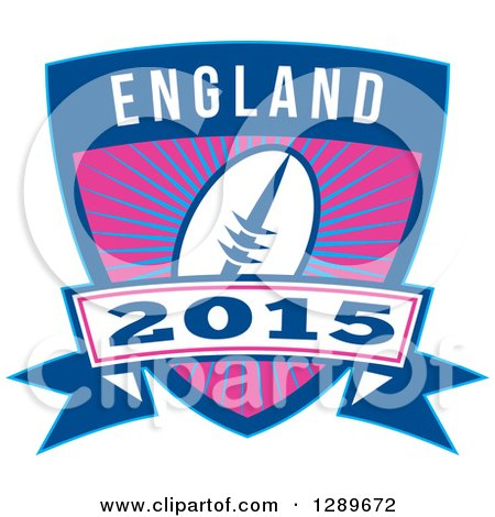 Clipart of a Retro Rugby Ball over a Burst in a Blue England 2015 Shield - Royalty Free Vector Illustration by patrimonio