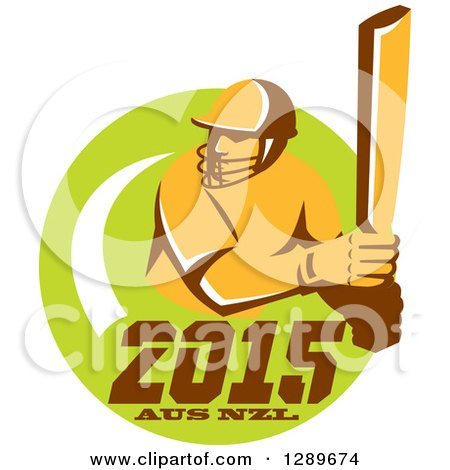 Clipart of a Retro Cricket Player Batsman in a Green Circle with 2015 Australia New Zealand Text - Royalty Free Vector Illustration by patrimonio