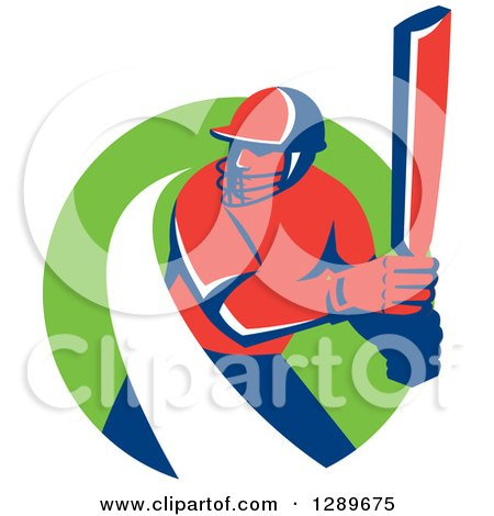 Clipart of a Red and Blue Retro Cricket Batsman with a White Swoosh in a Green Circle - Royalty Free Vector Illustration by patrimonio