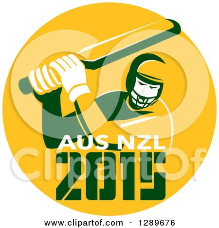 Clipart of a Retro Cricket Player Batsman in a Yellow Circle with 2015 Australia New Zealand Text - Royalty Free Vector Illustration by patrimonio