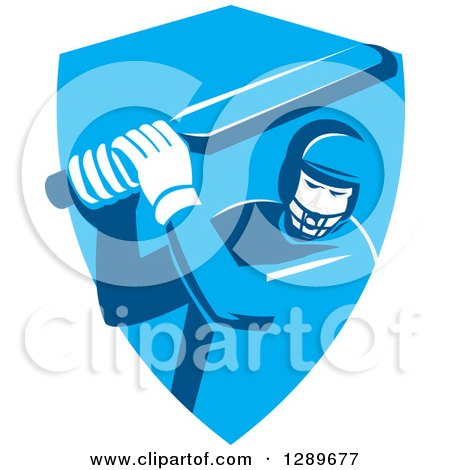 Clipart of a Retro Cricket Player Batsman in a Blue Shield - Royalty Free Vector Illustration by patrimonio