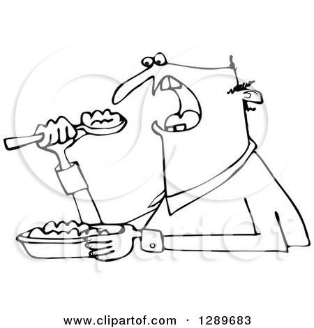 Clipart of a Black and White Unenthused Man Eating Mush - Royalty Free Vector Illustration by djart