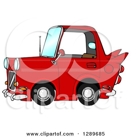 Clipart of a Compact Red Car with a Vintage Flair - Royalty Free Illustration by djart