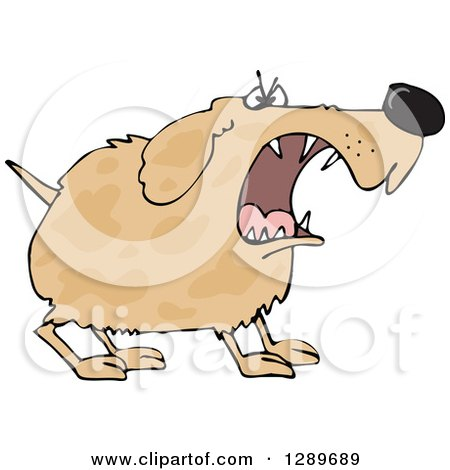 Clipart of a Tough Brown Spotted Dog Barking - Royalty Free Vector Illustration by djart