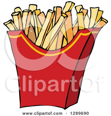 Clipart of a Red Carton of Salted French Fries - Royalty Free Vector Illustration by djart