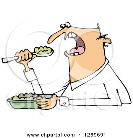 Clipart of an Unenthused White Man Eating Mush - Royalty Free Vector Illustration by djart