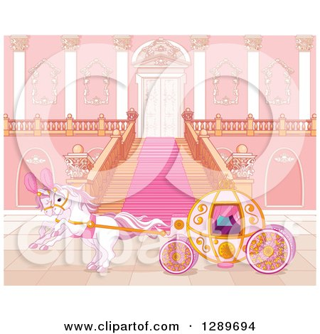 Clipart of a Horse Drawn Carriage at a Palace Entrance - Royalty Free Vector Illustration by Pushkin