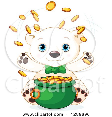 Clipart of a Cute St Patricks Polar Bear Leprechaun Tossing Gold Coins over a Pot - Royalty Free Vector Illustration by Pushkin