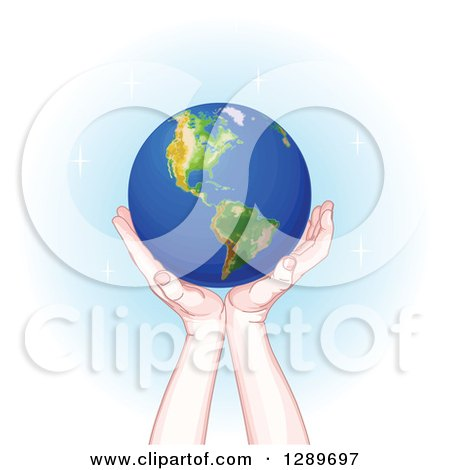 Clipart of Caucasian Hands Holding up Planet Earth over Blue and White with Sparkles - Royalty Free Vector Illustration by Pushkin