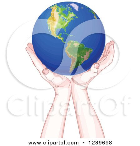 Clipart of Caucasian Hands Holding up Planet Earth - Royalty Free Vector Illustration by Pushkin