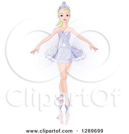 Blond Caucasian Woman Dancing Ballet in a Crown and Tutu over Faint Purple Posters, Art Prints