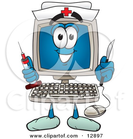 Desktop Computer Mascot Cartoon Character Nurse With a Knife and Syringe Posters, Art Prints