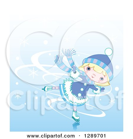 Clipart of a Blond Caucasian Girl Ice Skating in the Winter - Royalty Free Vector Illustration by Pushkin