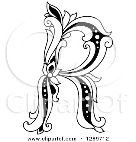 Clipart of a Black and White Vintage Floral Capital Letter R - Royalty ...