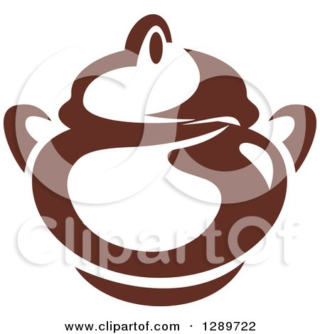 Clipart of a Dark Brown and White Coffee Pot or Sugar Bowl 2 - Royalty Free Vector Illustration by Vector Tradition SM
