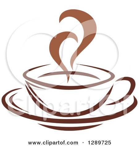 Clipart of a Two Toned Brown and White Steamy Coffee Cup on a Saucer 22 - Royalty Free Vector Illustration by Vector Tradition SM