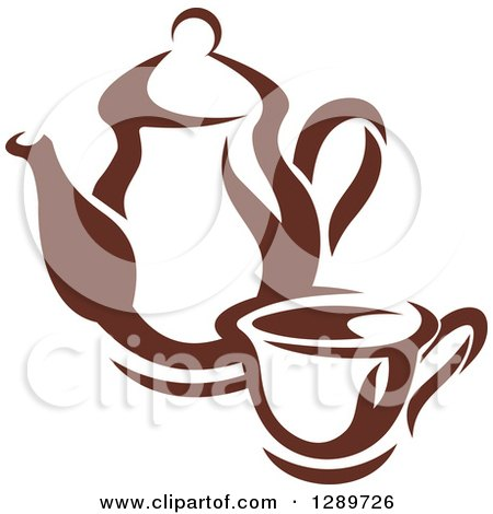 Clipart of a Brown and White Coffee Cup and Pot 2 - Royalty Free Vector Illustration by Vector Tradition SM