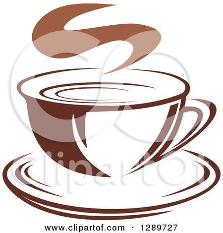 Clipart of a Two Toned Brown and White Steamy Coffee Cup on a Saucer 23 - Royalty Free Vector Illustration by Vector Tradition SM