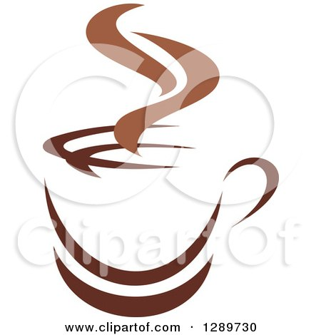 Clipart of a Two Toned Brown and White Steamy Coffee Cup on a Saucer 26 - Royalty Free Vector Illustration by Vector Tradition SM
