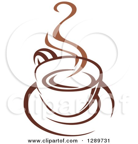 Clipart of a Two Toned Brown and White Steamy Coffee Cup on a Saucer 25 - Royalty Free Vector Illustration by Vector Tradition SM