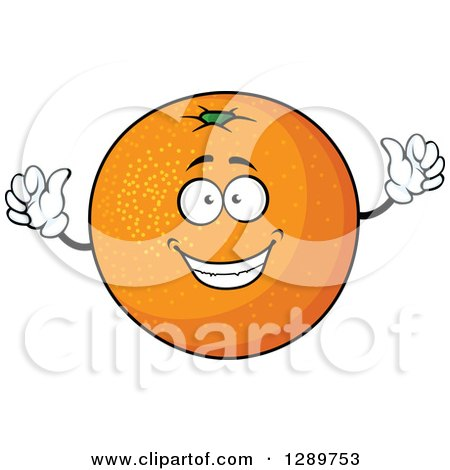 Clipart of a Cheering Happy Orange Character - Royalty Free Vector Illustration by Vector Tradition SM