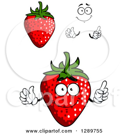 Clipart of Strawberries, Hands and a Face - Royalty Free Vector Illustration by Vector Tradition SM