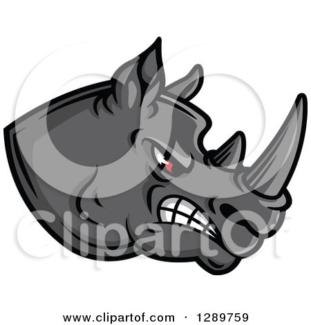 Aggressive Red Eyed Gray Rhino Head Facing Right Posters, Art Prints