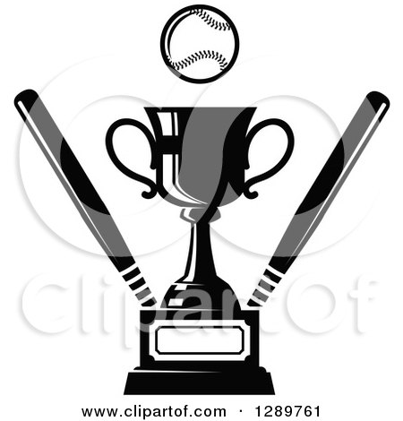 Clipart of a Black and White Softball or Baseball by a Sports Championship Trophy with Bats - Royalty Free Vector Illustration by Vector Tradition SM