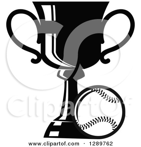 Clipart of a Black and White Softball or Baseball by a Sports Championship Trophy - Royalty Free Vector Illustration by Vector Tradition SM
