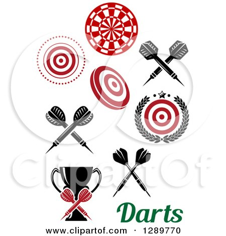 Clipart of Bullseye Target Dartboards, Throwing Darts, a Trophy and Text - Royalty Free Vector Illustration by Vector Tradition SM