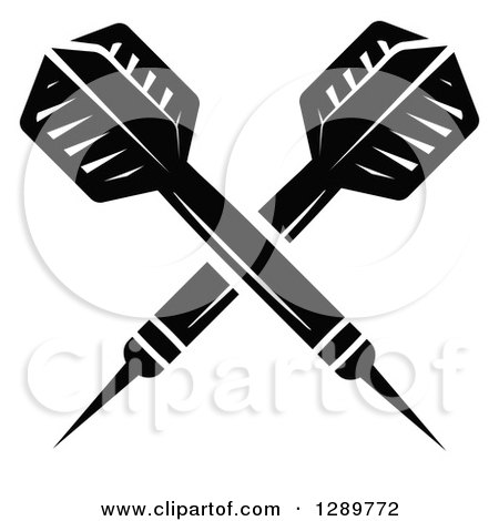 Clipart of Crossed Black and White Throwing Darts - Royalty Free Vector Illustration by Vector Tradition SM