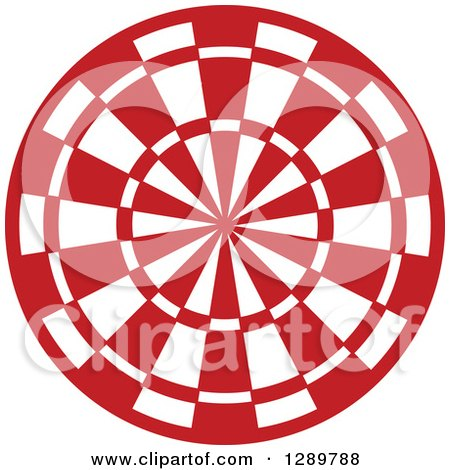 Clipart of a Red and White Bullseye Target for Archery or Throwing Darts - Royalty Free Vector Illustration by Vector Tradition SM