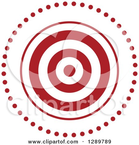 Clipart of a Red and White Bullseye Target for Archery or Throwing Darts, in a Circle of Dots - Royalty Free Vector Illustration by Vector Tradition SM