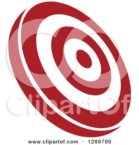 Clipart of a Tilted Red and White Bullseye Target for Archery or Throwing Darts - Royalty Free Vector Illustration by Vector Tradition SM