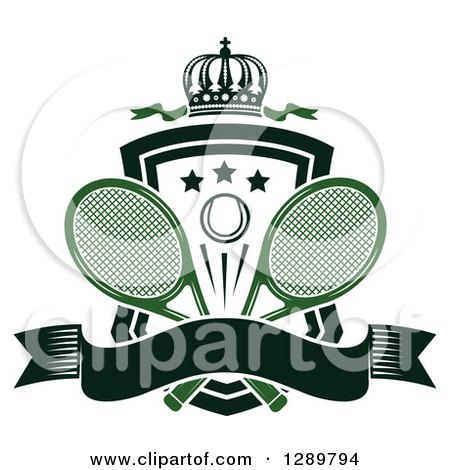 Clipart of a Black and White Crown, Blank Banner and Tennis Ball Shield with Green Ribbons and Rackets - Royalty Free Vector Illustration by Vector Tradition SM