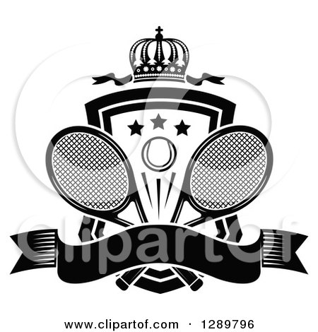 Clipart of a Black and White Crown, Blank Banner and Tennis Ball Shield with Ribbons and Rackets - Royalty Free Vector Illustration by Vector Tradition SM