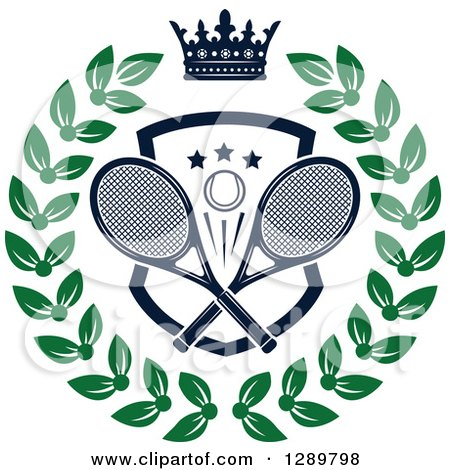 Clipart of a Navy Blue Crown over a Tennis Ball and Racket Shield in a Green Wreath - Royalty Free Vector Illustration by Vector Tradition SM