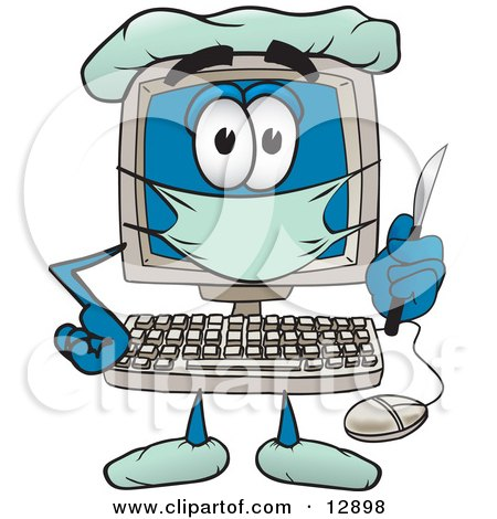 Desktop Computer Mascot Cartoon Character Plastic Surgeon With a Knife Posters, Art Prints