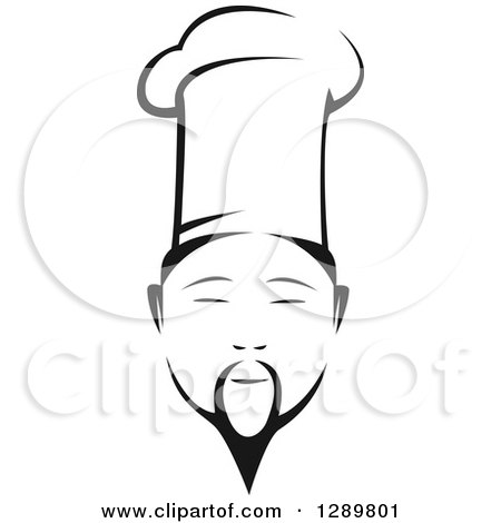 Clipart of a Black and White Male Asian Chef Face - Royalty Free Vector Illustration by Vector Tradition SM