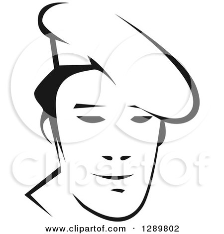 Clipart of a Black and White Male Asian Chef Face 2 - Royalty Free Vector Illustration by Vector Tradition SM
