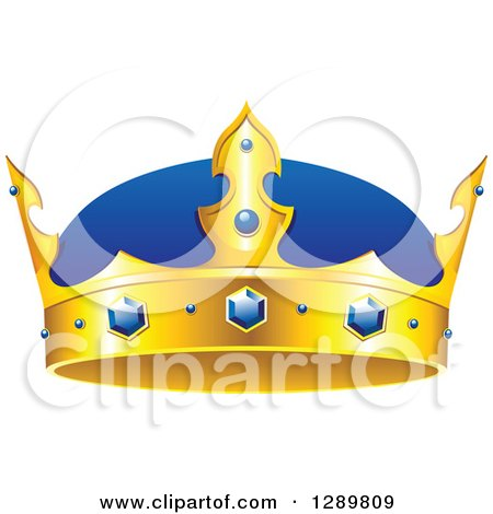 Clipart of a Blue and Gold Crown with Sapphires - Royalty Free Vector Illustration by Vector Tradition SM
