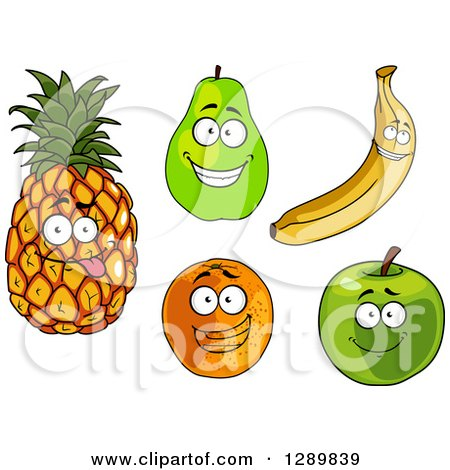 Clipart of Pineapple, Pear, Banana, Orange and Green Apple Characters - Royalty Free Vector Illustration by Vector Tradition SM