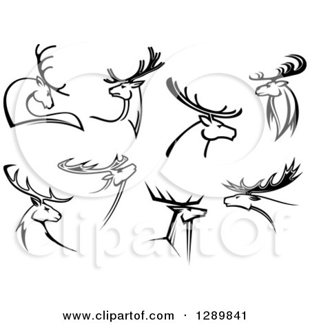 Clipart of Black and White Deer with Antlers - Royalty Free Vector Illustration by Vector Tradition SM