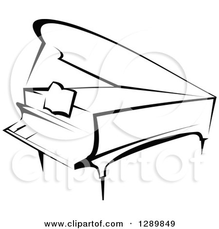 Grand Piano Cartoon Black And White Black And White Sketched Grand