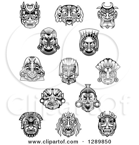 Clipart of Black and White Tribal Masks 2 - Royalty Free Vector Illustration by Vector Tradition SM