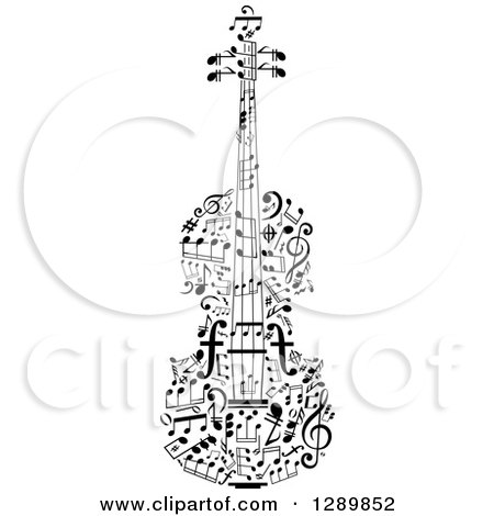 Clipart of a Black and White Violin Made of Music Notes - Royalty Free Vector Illustration by Vector Tradition SM